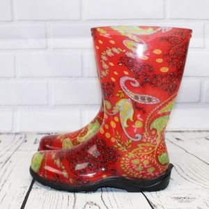 Sloggers Red Paisley Rain Garden Boots Size 6